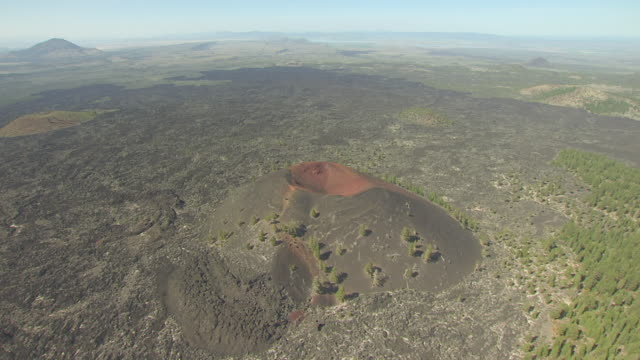 ws aerial pov view of schonchin butte / california, united states  - butte rocky outcrop stock videos and b-roll footage