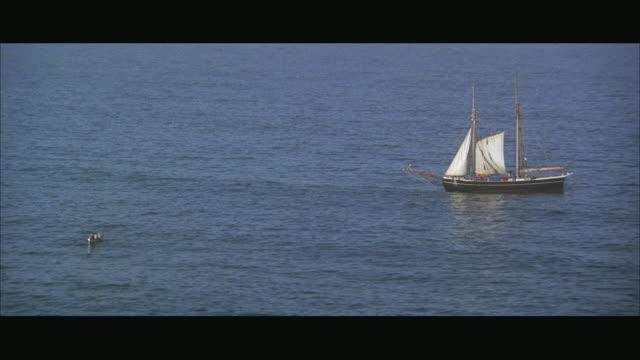 WS View of schooner anchored near sea shore