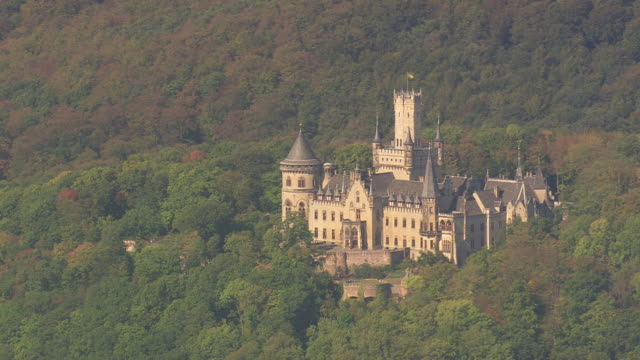 ws aerial view of schwarzburg castle high above valley and surrounded by wooded mountains / germany - schlossgebäude stock-videos und b-roll-filmmaterial