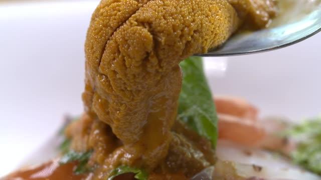 view of scooping up uni(sea urchin roe) with spoon - ウニ点の映像素材/bロール