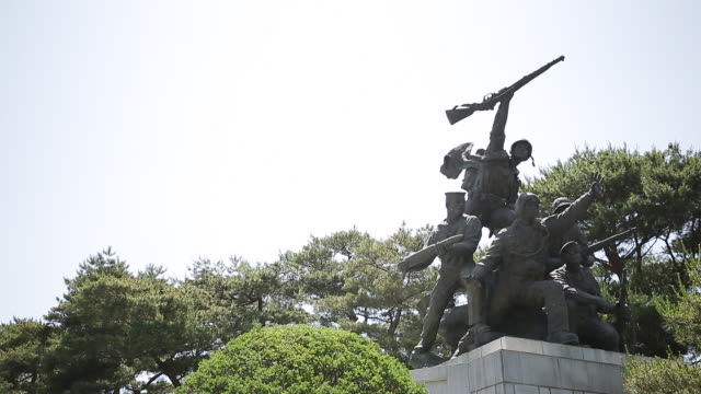 view of sculpture at seoul national cemetery - female likeness stock videos & royalty-free footage