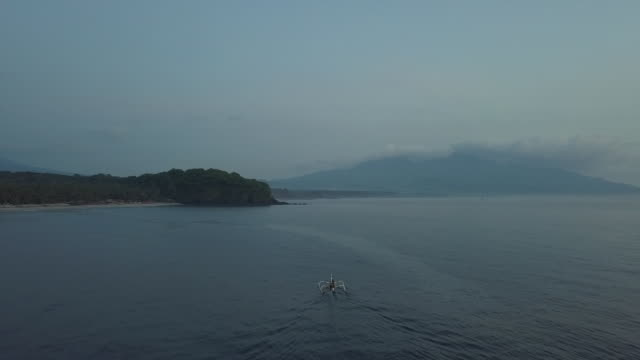 view of sea and boats in karangasem regency / bali, indonesia - horizon over water stock videos & royalty-free footage