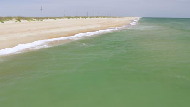 ws tu aerial pov view of sea / cape hatteras, north carolina, united states - north carolina beach stock videos & royalty-free footage