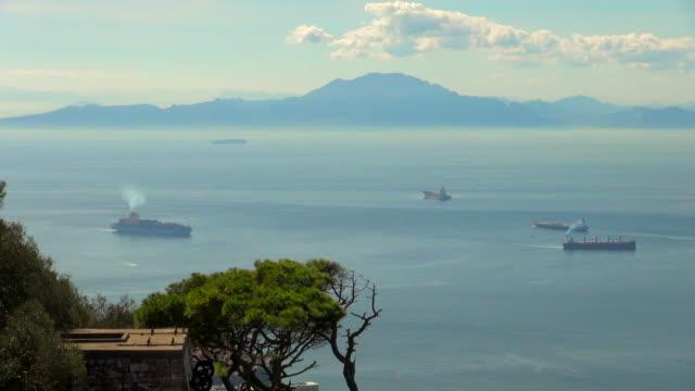 view of sea from gibraltar and mainland mountains - gibraltar bildbanksvideor och videomaterial från bakom kulisserna