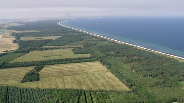 ws aerial view of sea shore / falster, denmark - küste stock-videos und b-roll-filmmaterial