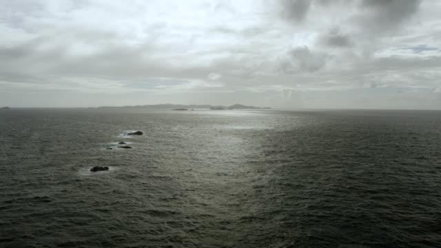 WS TU AERIAL POV View of sea with Cayo Lobito and Cayo Lobo island in distance / Puerto Rico, United States