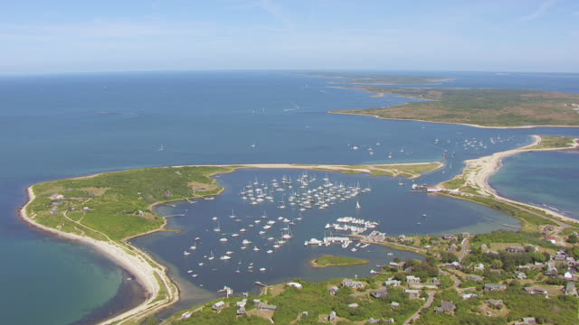 WS AERIAL POV View of sea with harbour near Cuttyhunk Island and Elizabeth Island / Gosnold, Massachusetts, United States