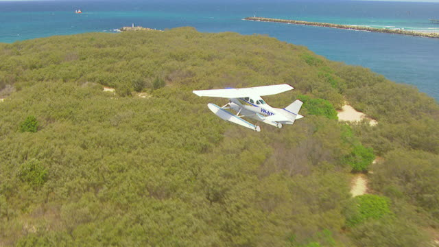 ws aerial zi ts view of seaplane flying over / kings cliff, new south wales, australia - 水上飛行機点の映像素材/bロール