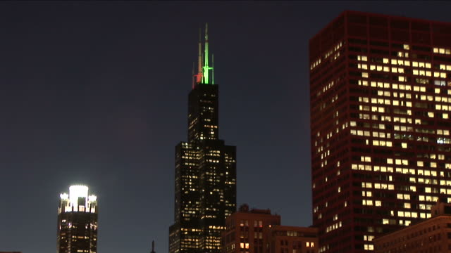 View of Sears tower at night in Chicago United States
