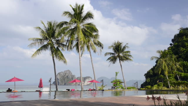 ws view of seaside swimming pool under palm trees on beach / ko hai, krabi, thailand - parasol stock videos & royalty-free footage