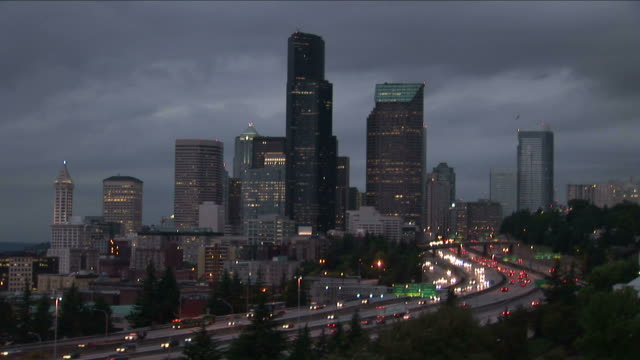 view of seattle city at magic hour in united states - washington mutual tower stock videos & royalty-free footage