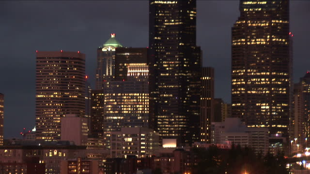 view of seattle city at night in united states - washington mutual tower stock videos & royalty-free footage