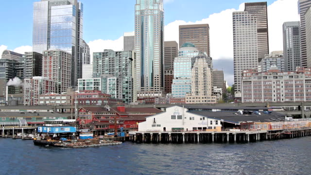 view of seattle from the ferry - pike place market stock videos and b-roll footage