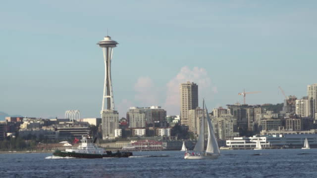 WS View of Seattle space needle, skyline and boats / Seattle, Washington, United States