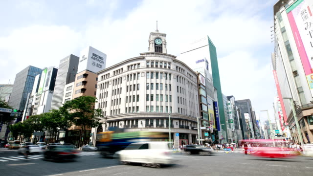 View of Seiko Clock Tower and Wako Department Store during the day in Ginza, Tokyo, Japan