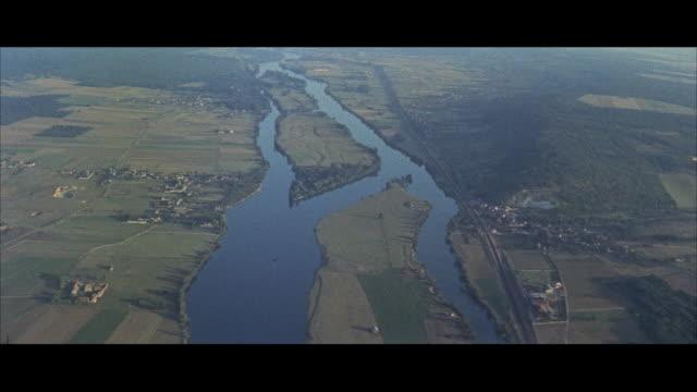 AERIAL View of seine river toward Paris / Paris, France