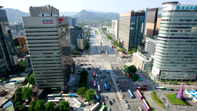 View of Sejongdaero road in Gyeongbokgung Royal Palace (Korean National Treasure 223) at Gwanghwamun Square (Popular tourist attraction)