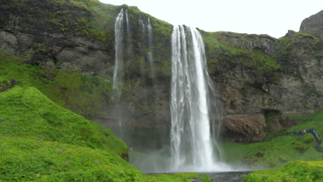 view of seljalandsfoss waterfall, iceland - north atlantic ocean stock videos & royalty-free footage