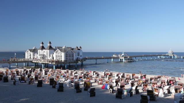 WS View of Sellin Pier and wicker beach chairs / Sellin, Island of Rugen, Mecklenburg Vorpommern, Germany