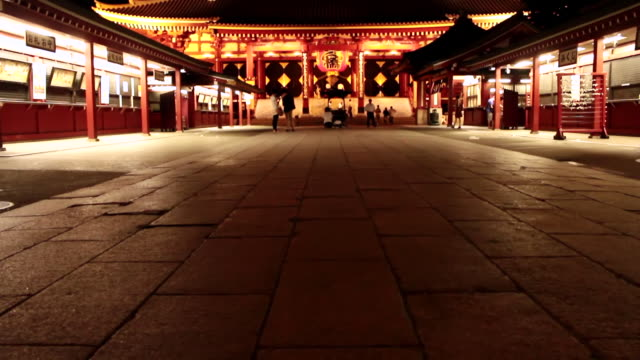 ws tu view of senso ji temple at night / asakusa, tokyo, japan - shrine stock videos & royalty-free footage