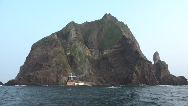 View of Seodo Island (West Island) next to Dokdo Island (Natural Monument Heritage and one of the most famous islands in Korea)