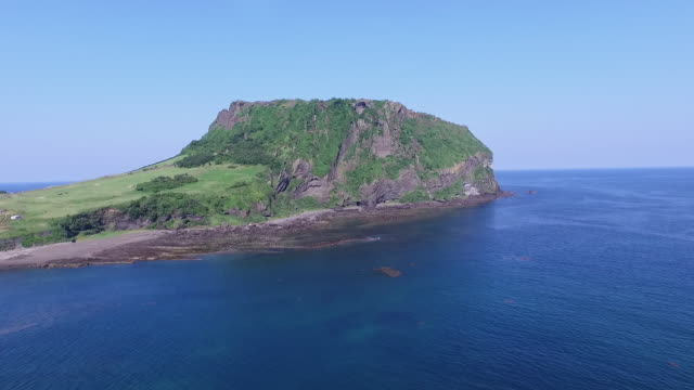 View of SeongsanIlchulbong cliff(UNESCO World Heritage Site) in Jeju Island