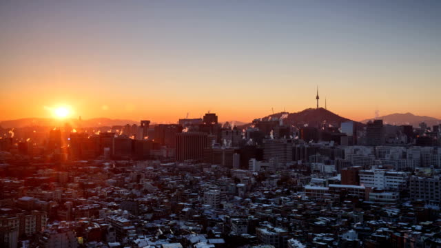 View of Seoul and N Seoul Tower (One of the famous tourist destinations) at sunrise in winter