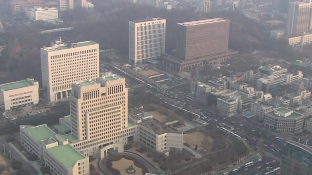 view of seoul central district prosecutor's office, supreme prosecutors' office and supreme court in seocho-gu, seoul, south korea - staatsanwalt stock-videos und b-roll-filmmaterial