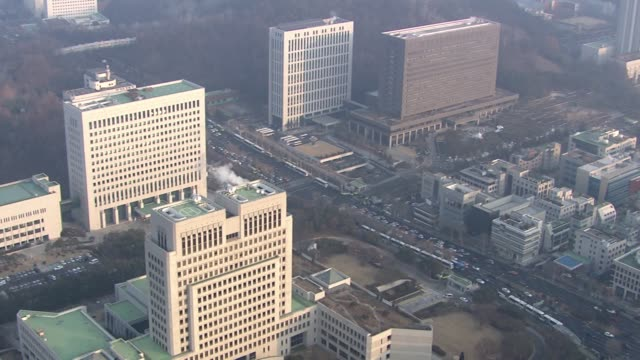 vidéos et rushes de view of seoul central district prosecutor's office, supreme prosecutors' office and supreme court in seocho-gu, seoul, south korea - juge