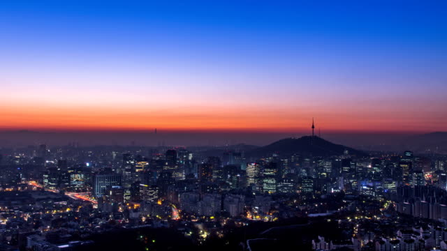 View of Seoul city and N Seoul Tower at sunrise (N Seoul Tower is one of the famous tourist attraction)