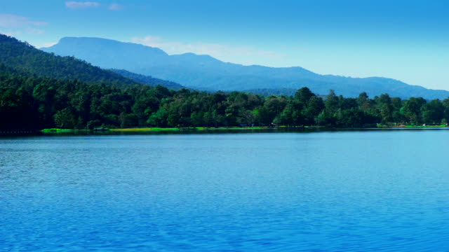 View of serene mountain lake.