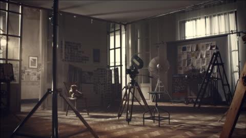view of set for film making - filma bildbanksvideor och videomaterial från bakom kulisserna