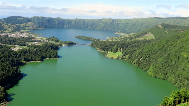 view of sete cidades (caldeira) - são miguel - azores - portugal stock videos & royalty-free footage