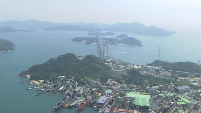 aerial ws view of seto inland sea / nishi-seto expressway / imabari, ehime, japan - nishiseto expressway stock videos & royalty-free footage