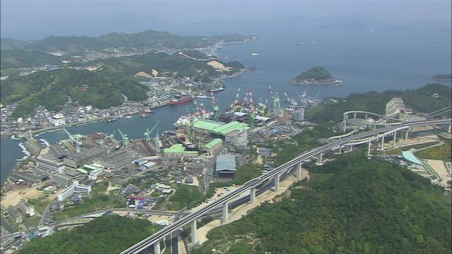 aerial ws view of seto inland sea with nishi-seto expressway / imabari, ehime, japan - nishiseto expressway stock videos & royalty-free footage