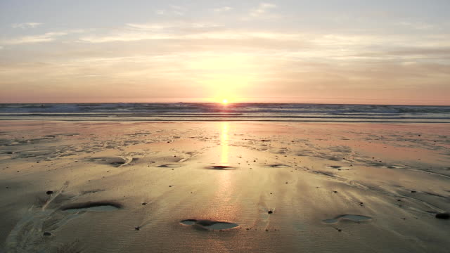 ws view of setting sun on atlantic coast in southern france / cap de l'homy, aquitaine, france - aquitaine stock videos and b-roll footage