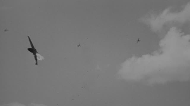 WS TS View of several planes in flight, multiple planes explode and go down in flames