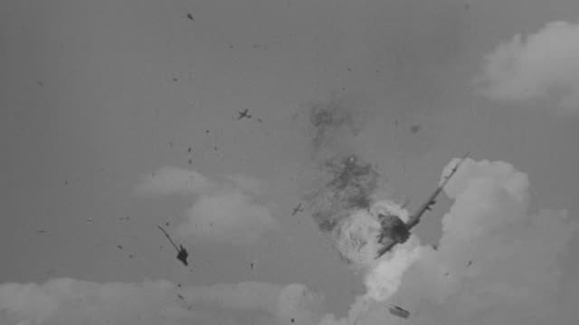 MS TS View of several planes in flight, multiple planes explode and go down in flames