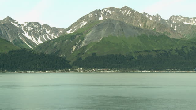 """view of seward from across resurrection bay, kenai peninsula, alaska."" - kenai peninsula stock videos & royalty-free footage"