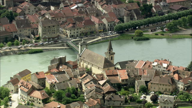 aerial view of seyssel on river rhone, rhone alpes, france - rhone river stock videos & royalty-free footage