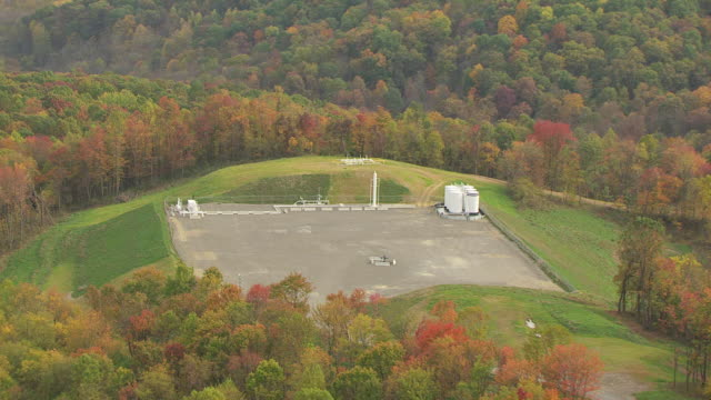 WS DS AERIAL View of shale drill pad in rural area / Ohio, United States