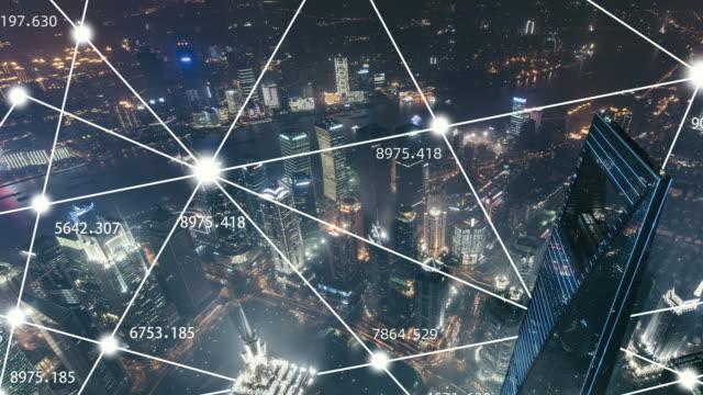 vídeos de stock e filmes b-roll de t/l ha tu view of shanghai city network technology at night - blockchain