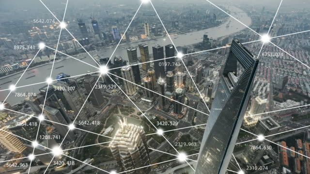 t/l ws ha view of shanghai city network technology / china - data mining stock videos & royalty-free footage