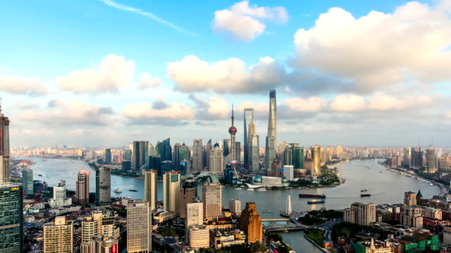 t/l ws ha view of shanghai skyline / shanghai, china - river huangpu stock videos & royalty-free footage