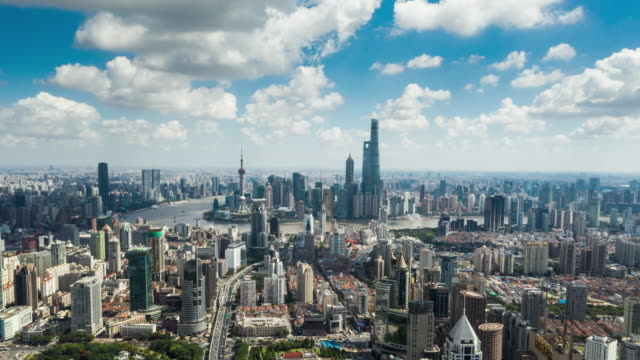 view of shanghai skyline, time-lapse - motorway junction stock videos & royalty-free footage