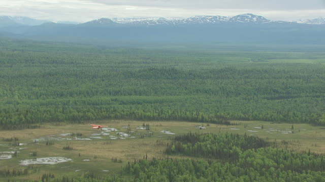WS AERIAL View of Sheldon Air Cessna airplane flying over forests near Talkeetna / Alaska, United States
