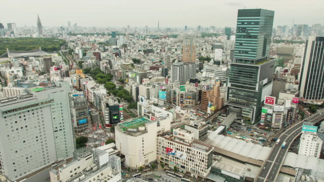 WS T/L View of shibuya area with newly built Hikarie building and Yoyogi park in distance / Tokyo, Japan