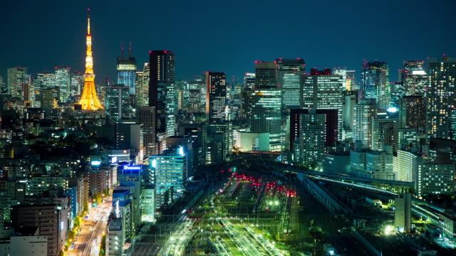 WS T/L View of shinagawa station and office district at night / Tokyo, Japan