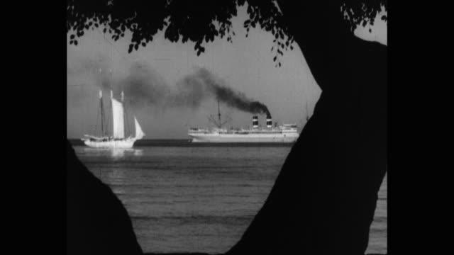 view of ship and sailing boat moored in sea, caribbean - barca da diporto video stock e b–roll