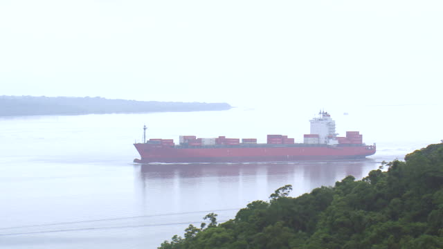 WS AERIAL View of Ship at Paranagua Port / Parana, Brazil